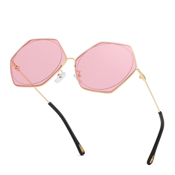 Brand designer ladies frameless sunglasses men and women sunglasses fashion polarized glossy glasses frameless sunglasses 2019 high quality
