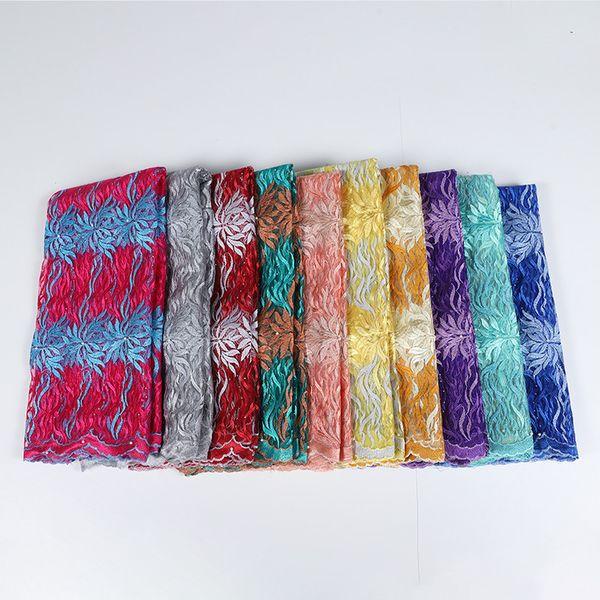 Оптовая ткань шнурка для Свадебных платьев выпускного вечера платья African Arabic бисера Вышивка Кружево Материал высокого качество BF0037