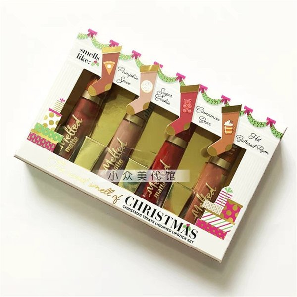 Chegada nova Marca Maquiagem O Cheiro Doce De Natal Trata Lick Liquidificada Set 4 cores Derreter Matte Lipgloss Kit DHL livre