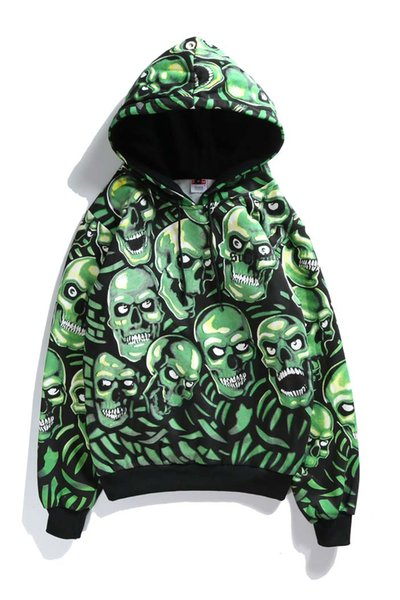 Ghost 18ss Week1 Свая Череп Sweartshirt серебристо-зеленый Мужчины и Женщины Скелет свитер Hoody HFWPWY064