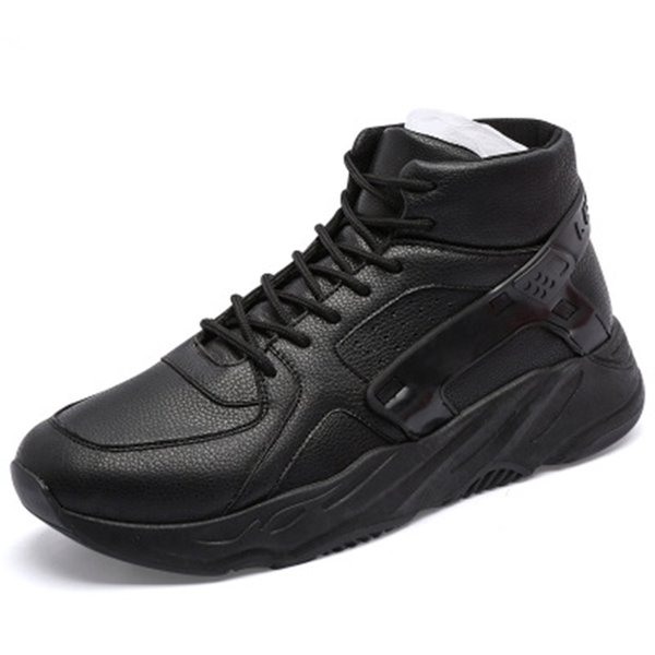Men's High-top Sneakers Casual Fashion Men's Tie Tide Shoes Solid Color Autumn And Winter Warm Men's Shoes Outdoor Shoes Wholesale