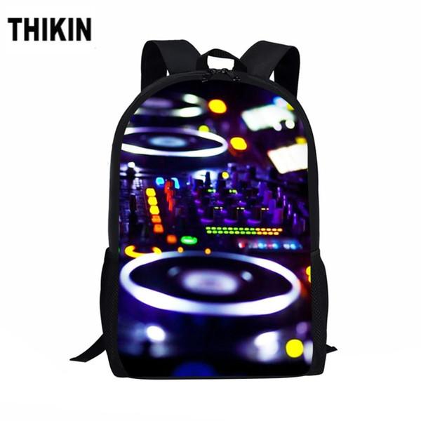 THIKIN Cool DJ Night Theme Print School Bags For Boys Girls Casual 3D Men's Backpack Fashion Orthopedic Rucksack Kids Book Bag