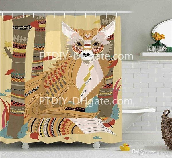 Professional DIY Unique Animal Theme a Fluffy Fox in The Forest and Tree Trunks Decorative Design Pattern Fabric Bathroom Decor Set