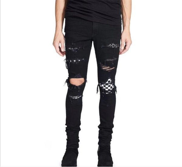3 adet kot Marka SRPING biker denim kot erkekler tasarladığımız los Aangeles sokak Delik siyah kot ince sıska pantolon M359