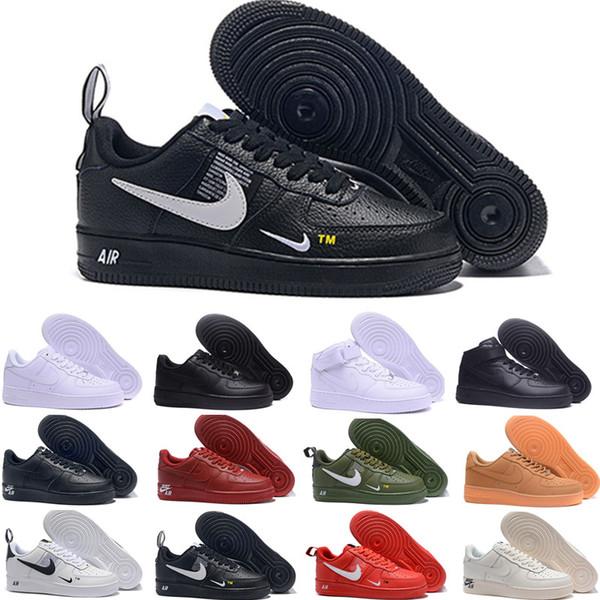 Satış 2019 Yeni Tasarım Kuvvetler Erkekler Düşük Kaykay Ayakkabı Ucuz Bir Unisex 1 Örgü Euro Hava Yüksek Kadınlar Tüm Beyaz Siyah Kırmızı Rahat Ayakkabılar BE-1698