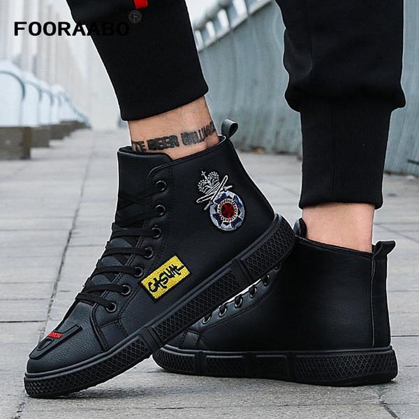 2018 Nouvelle Hiver D'impression De Luxe Hommes Casual Chaussures Noir Appartements Haut Haut De Mode Hommes Sneaker Court En Peluche Hip Hop PU Chaussures En Cuir