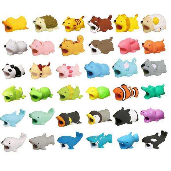 36styles mordida do cabo mordida de cabo protetor de animais brinquedos acessórios cabo mordidas cão porco elefante axolotl para iphone smartphone carregador cabo dhl