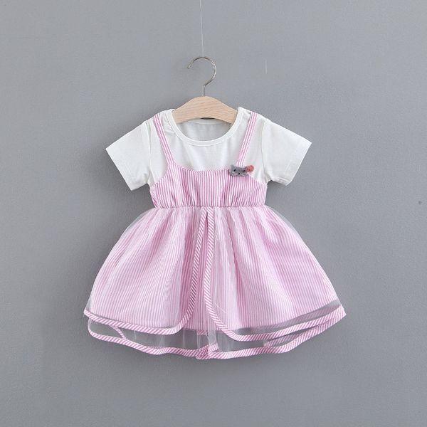 Toptan Kızlar Çizgili Elbise Çocuk Giyim İlkbahar 2019