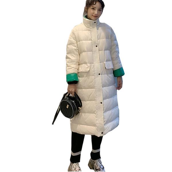 Chaqueta de plumón de pato Mujer Invierno 2019 Abrigos Abrigos Mujer Largo Casual Ligero Chaqueta acolchada cálida ultra delgada de marca