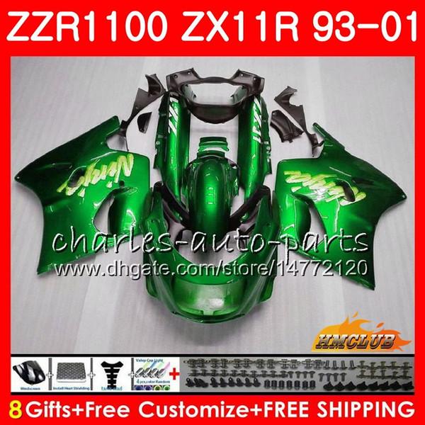 ZX11 R Para KAWASAKI NINJA ZX11R 93 01 ZX-11R 93 94 95 96 97 31HC.0 ZZR1100 ZX 11R ZZR 1100 1993 1994 1995 1996 1997 Fairing Factory verde