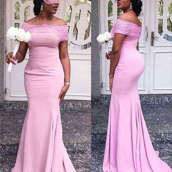 2019 Pink Bateau Mermaid Vestidos largos de dama de honor con apliques Mancha de encaje Mujeres africanas Vestido de dama de honor Fiesta Invitado de boda