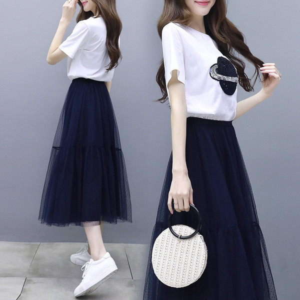 Short sleeve T two-piece suit for children's net yarn A-shaped skirt maxi dress long