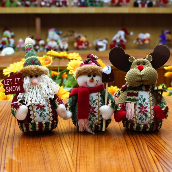 Santa Claus Snow Man Reindeer Doll Christmas Decoration Ornaments Pendant Christmas Gift Merry Dolls Decor New Qgnv