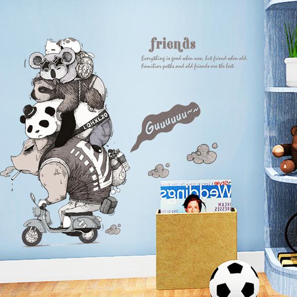 DIY Animal Friends Individual Children's Room Door, Hallway, Bedside Corner Decorative Wall Paste