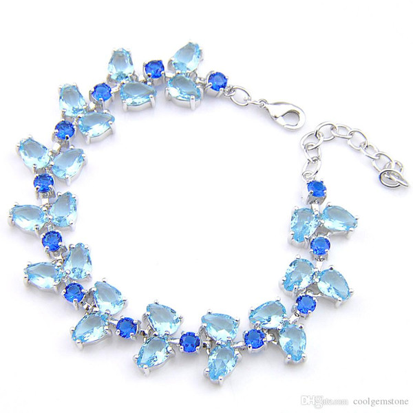 Luckyshine 2Pcs Holiday Gift Shiny Crystal Geometric New Blue Topaz Gem Bracelets Bangles Women Charm Bangles
