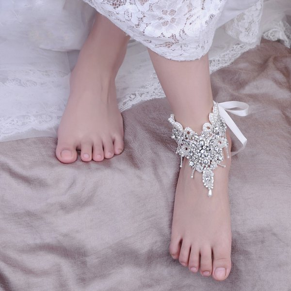 2019 Wedding Beach Barefoot Sandals Rhinestone Pearls 1 Piece Bridal Foot Accessory Jewelry Chain Anklets