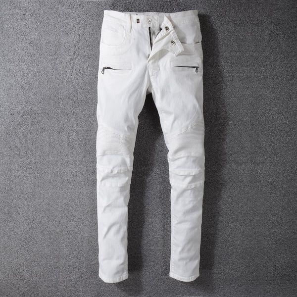 Hot Sale Mens Slim Fit White folds Skinny Biker Man Jeans Hole Designs For Hip Hop Fashion Denim Pants Trousers