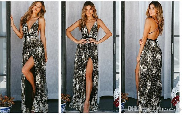 Long Sexy Lace Damenkleider New Backless Criss Cross Straps Abendkleider V-Ausschnitt Cocktail Party Prom Dresses