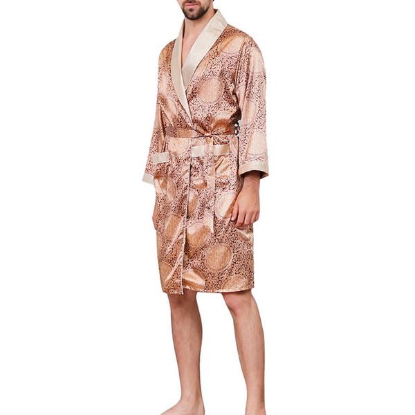 LASPERAL Плюс Размер Robe Мужчины лето пижамы Robe Кимоно Мода Печатный Мягкий шелк Длинные рукава Комфортное Мужской Nightwear