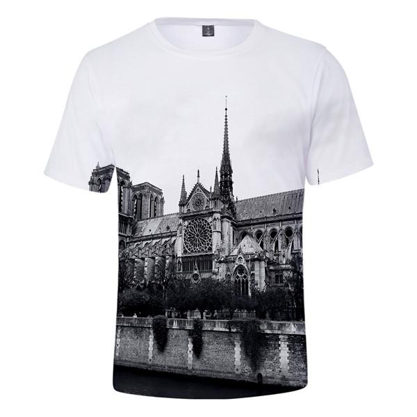 Notre Dame de Paris Mens Tshirts O-Neck Short Sleeved RIP Female Tshirts Teenagers Designer Summer Fashion Clothes