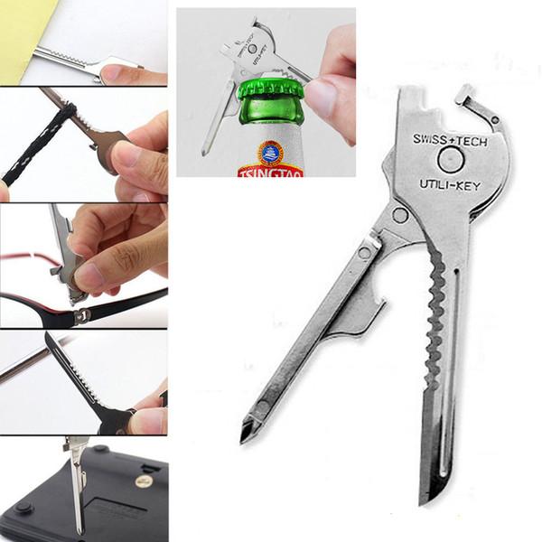 Многофункциональная застежка для ключей 6 в 1 складной мини-нож Открытый карманный мини-нож Phillips и прямые отвертки открывалка для бутылок BH2364 TQQ