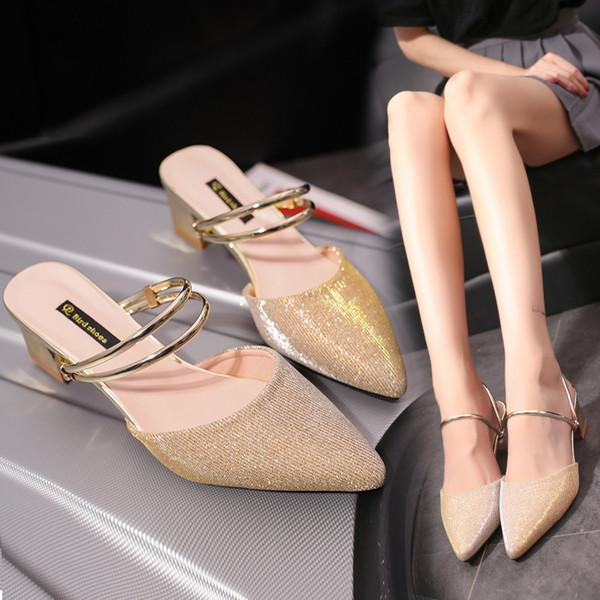 Yaz Katı Kadınlar Kapalı Toe Terlik Moda Eğlence Kadın Ayakkabı Ile Düşük Düz Dışında Slaytlar