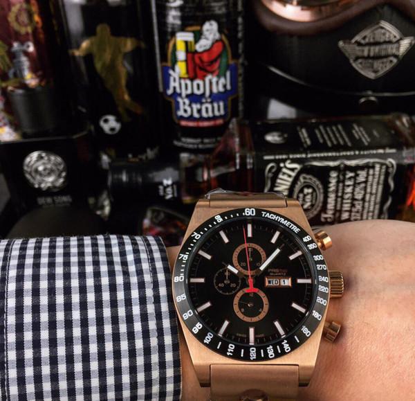 Бренд дизайнерские часы мужские Кварцевый корпус из нержавеющей стали Наручные часы brack Циферблат золотые часы 45 мм reloj de lujo