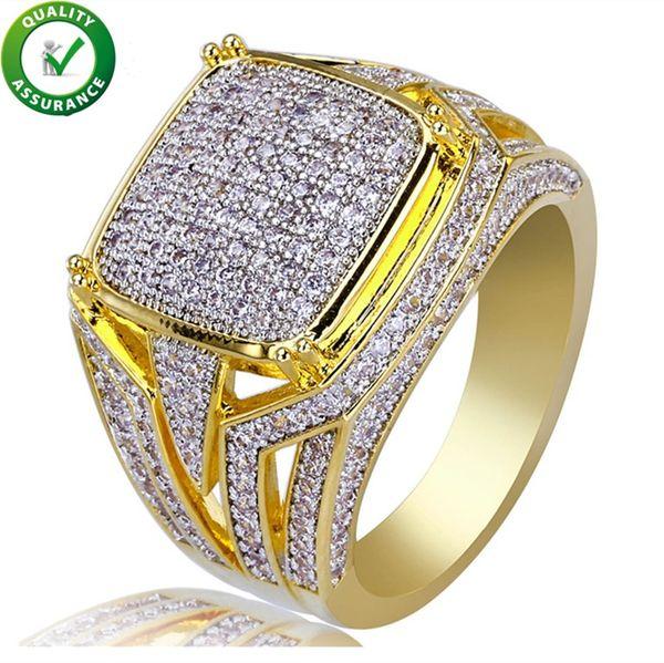 Gioielli Hip Hop Diamond Ring Mens Luxury Designer Anelli Micro Pave CZ ghiacciato Bling Big Square Finger Ring accessori da sposa placcati oro