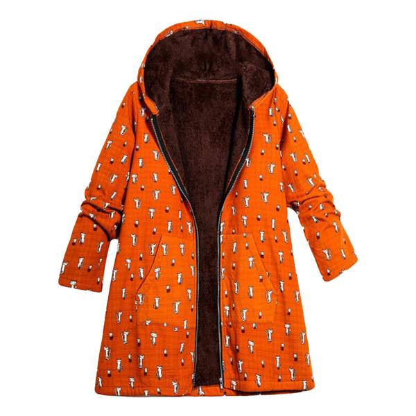 Großhandel Womens Winter Warm Outwear Katze Print Mit Kapuze Taschen Vintage Oversize Lange Mäntel Winterjacke Frauen Windjacke Oberbekleidung Von