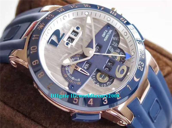 Лучшие дизайнерские часы 18-каратного розового золота El Toro GMT + / - Вечный календарь 326-03-3 TWA синий циферблат UN-32 автоматический 28800vph резиновый ремешок