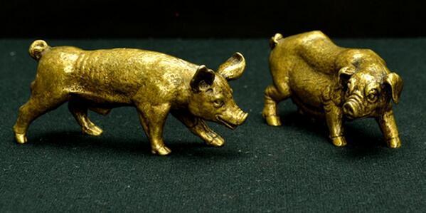 Медь Китай Чистая латунь Папа свинья и мама свинья маленькая статуя бесплатная доставка
