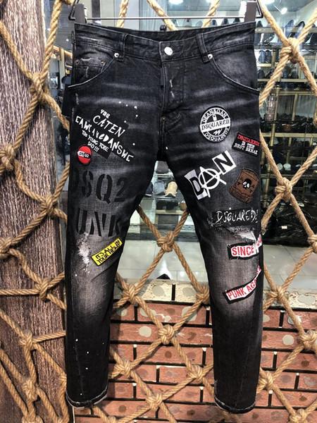 Homens Rasgados Fino Buraco Jeans Moda Designers Motocicleta Reta COOLGUY JEANS Causal Denim Calças calças de brim dos homens 9605 calças