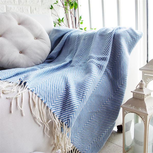 Luxury Chenille Throw Blanket Blue Gray Sofa Decorative Slipcover Cobertor  Stitching Geometric Blankets For Beds Tassel Edge Teal Fleece Blanket ...