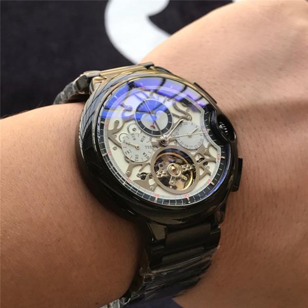 Marca para hombre Relojes de lujo KDY Mire todo el trabajo maquinaria de tourbillon Relojes de pulsera nuevas damas de acero inoxidable reloj suizo relojes casuales pareja
