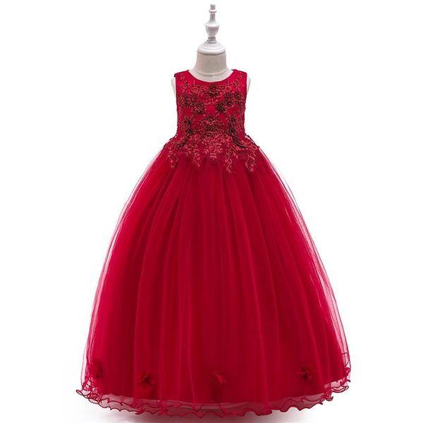 2019 summer Princess sleeveless girl's wedding dress girls' partynoble temperament dress Flower Girl dress 5-14yrs Teenage Girl