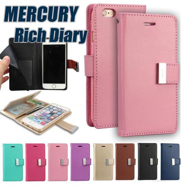Rich Diary Goospery per iPhone XS MAX 8 PLUS Flip Custodia in pelle per Samsung Galaxy S10 S9 Note 9 con confezione al dettaglio