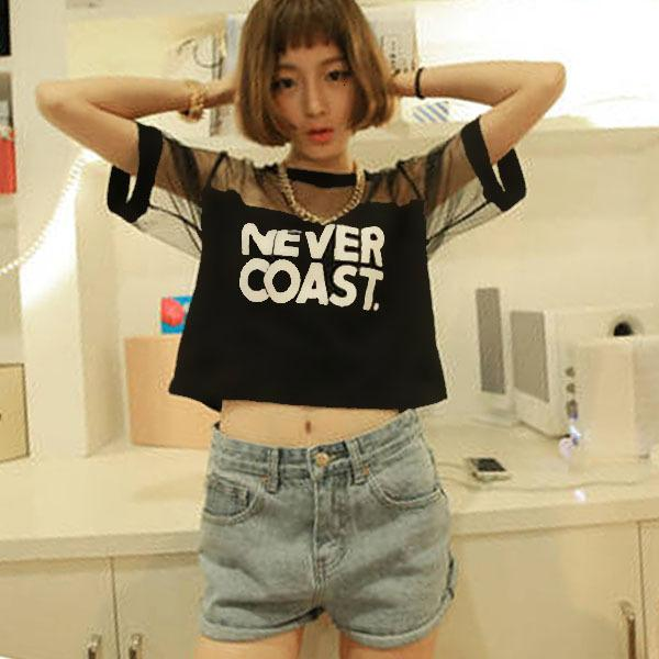 Women Tshirt Womens Designer Clothing Woman Clothes 2019 Women T Shirt Crop Top Shirt Sleeve Mesh See Through Short Tops Pl2