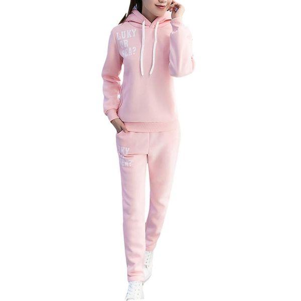 HEILSA frauen Gym Sportswear 2 STÜCKE Set Korean Fashion Brief Print Lässige Pullover + Warme Herbst Winter Student Sport Sport Set # 74202