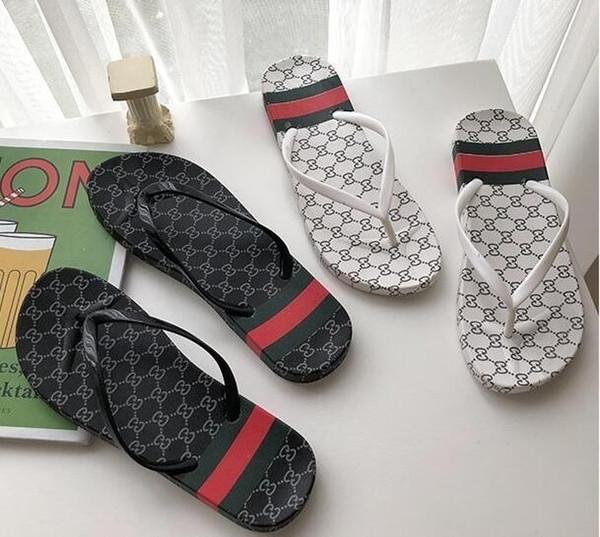 HOT 2Color 2019 luxury Good quality Sandy beach Shoes men Women designer slippers Flip Flops Shoes brand sandals men Women wholesale