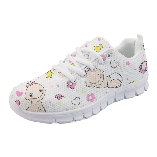 Cartoon Cute Baby Bottle Pattern Women's Sneakers Shoes Woman Flats Comfortable Light Shoes for Ladies Zapatos Mujer