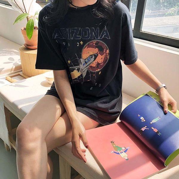 Yeni Yaz Moda Yıldız Evren Arizona Uzay Shattle Misyon Mars'a Pamuk T-shirt 1982 Vintage Kadınlar Baskı Kadınlar Tops Tee J190427