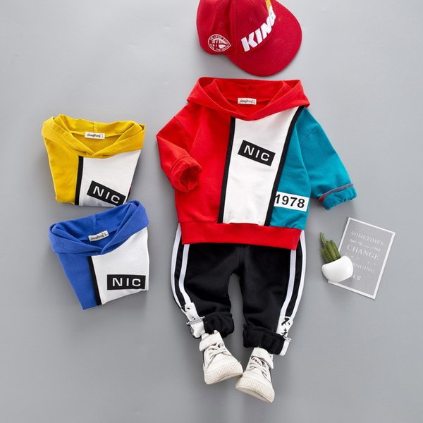 0-4 Year High Quality Boy Girl Clothing Set 2019 New Fashion Active Patchwor Kid Suit Children Baby Clothing Hoodies+pant Y190518