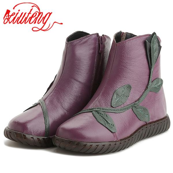 Xiuteng 2019 En Peluche D'hiver Chaussures Femmes Cheville Bottes Femme En Cuir Véritable Appartements Bottes Mère Casual Haute Qualité Chaude Neige