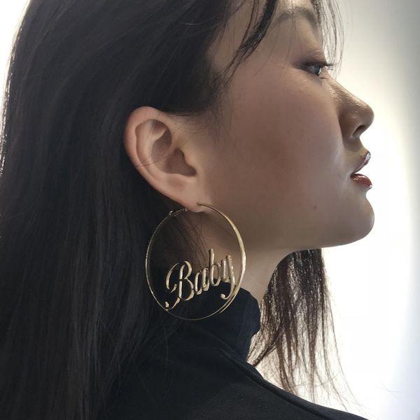 Oversized Gold Plated Big Circle Hoop Earrings Geometric Earring for Women FS