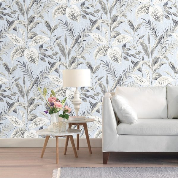 Vintage 3d Floral Wallpaper Flower Contact paper Blue non woven wall covering Living room Bedroom home Decor 0.53m*10m