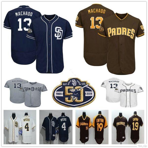 2019 Nuevo San Diego # 13 Manny Machado Jersey Azul Blanco Marrón Cosido 4 Wil Myers 19 Tony Gwynn Padres Camisetas de béisbol Parche 50