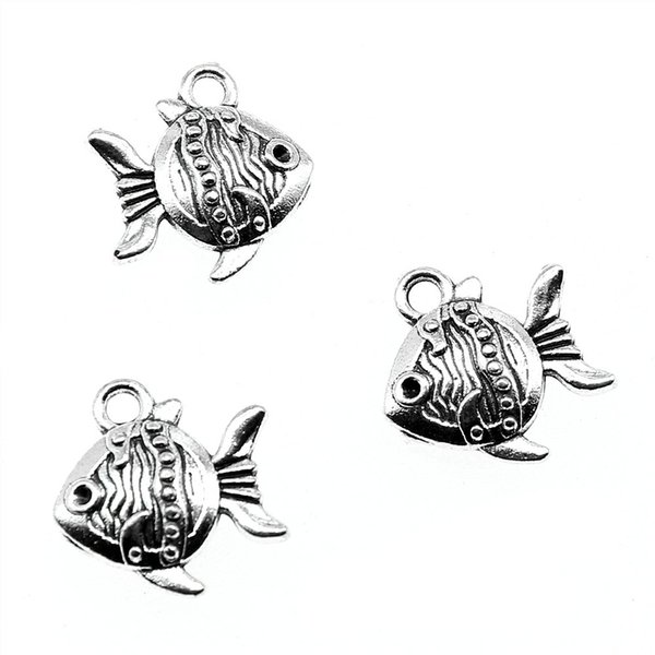 100pcs Charm Tropical Fish Sea Fish Pendant Charms For Jewelry Making Antique Silver Tropical Fish Charms 15x14x4mm