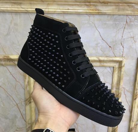 drop shipping new casual wholesale New men mix spikes black genuine leather high top red bottom sneakers,fashion skateboarding sports shoes
