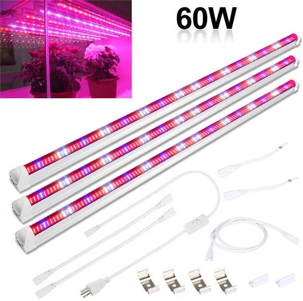 45W 60W 75W T8 Plant Grow Light Tube 3 Pack 3Ft Full Spectrum 448pcs LEDs Grow Lighting Bar Grow Strip for Indoor Plants