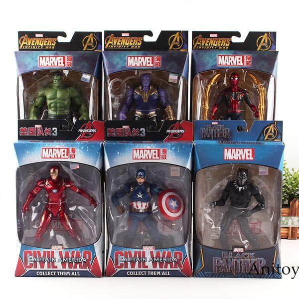 Sıcak Marvel Avengers 3 Infinity Savaş Spiderman Hulk Siyah Panter Demir Adam Kaptan Amerika Thanos Action Figure Koleksiyon Model Oyuncaklar